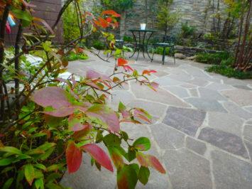 横須賀・葉山・逗子・鎌倉・湘南・川崎・横浜の庭づくりをしている彩葉苑がつくった横浜H様邸の植栽工事と造園外構工事の写真です。石張りのテラスの写真です。
