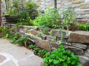 横須賀・葉山・逗子・鎌倉・湘南・川崎・横浜の庭づくりをしている彩葉苑がつくった横浜H様邸の植栽工事と造園外構工事の写真です。根府川石の石積み花壇の写真です。