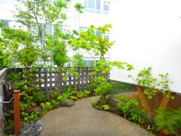 川崎市中原区k様邸の造園工事。横須賀、横浜、逗子葉山、湘南で庭づくりをしている彩葉苑がやった仕事。駐車場と雑木と山野草の植栽の外構工事をさせて頂きました。
