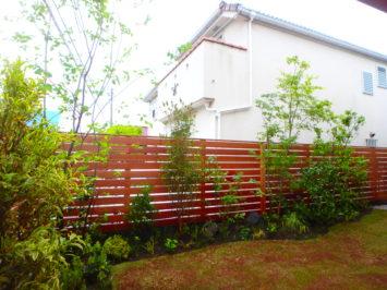 横須賀市にある植木屋のいろは苑が、横浜でアプローチと主庭を雑木と芝生を使って作ったお庭。